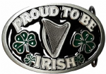 Proud to be Irish Ireland Harp Belt Buckle + display stand. Code AG1